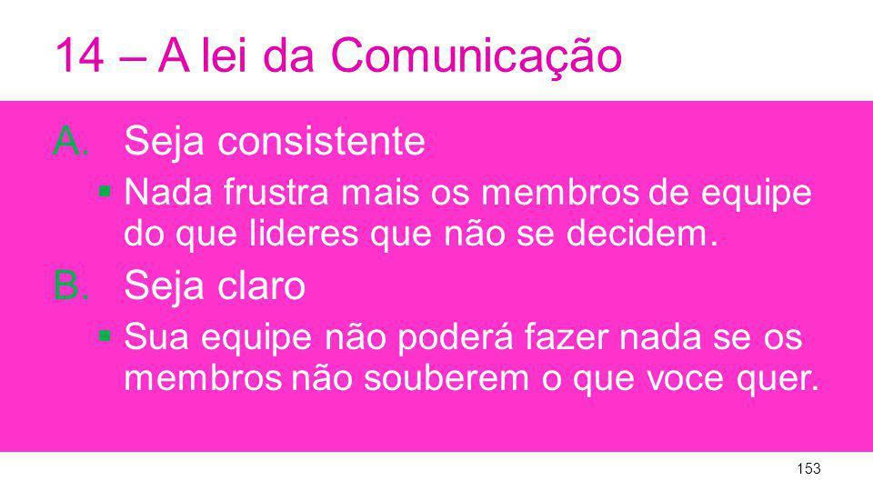 14 – A lei da Comunicação Seja consistente Seja claro