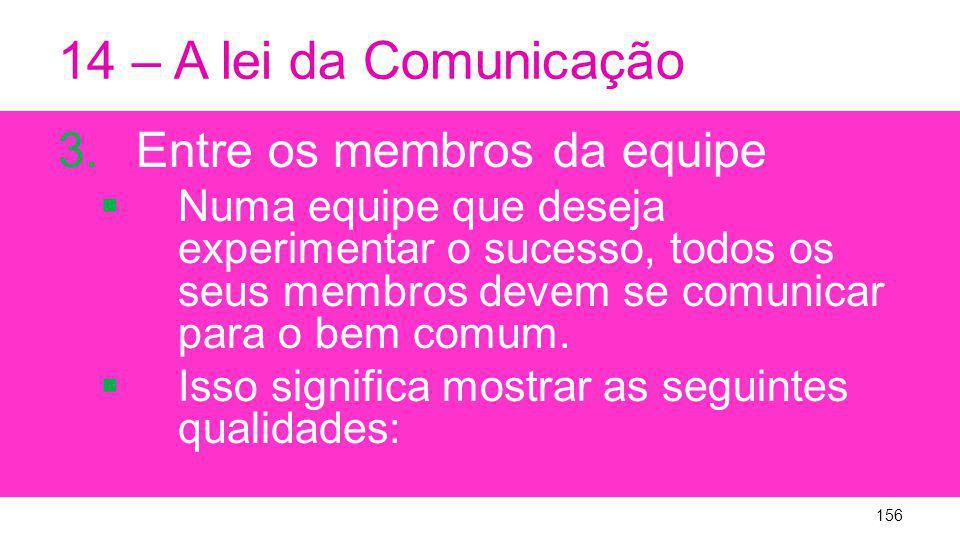 14 – A lei da Comunicação Entre os membros da equipe