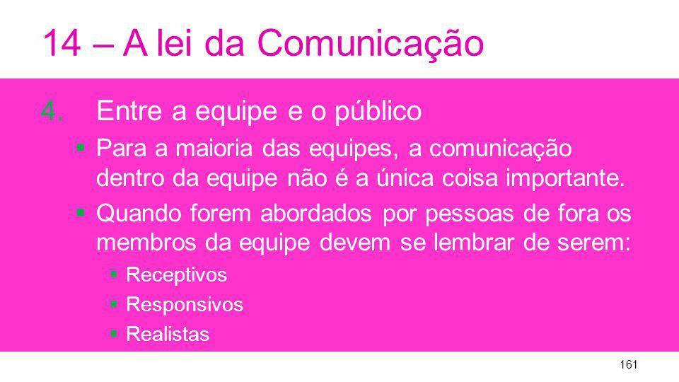 14 – A lei da Comunicação Entre a equipe e o público