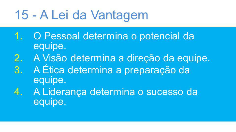 15 - A Lei da Vantagem O Pessoal determina o potencial da equipe.