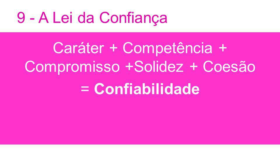 Caráter + Competência + Compromisso +Solidez + Coesão = Confiabilidade