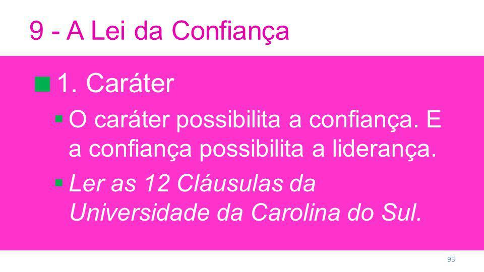9 - A Lei da Confiança 1. Caráter