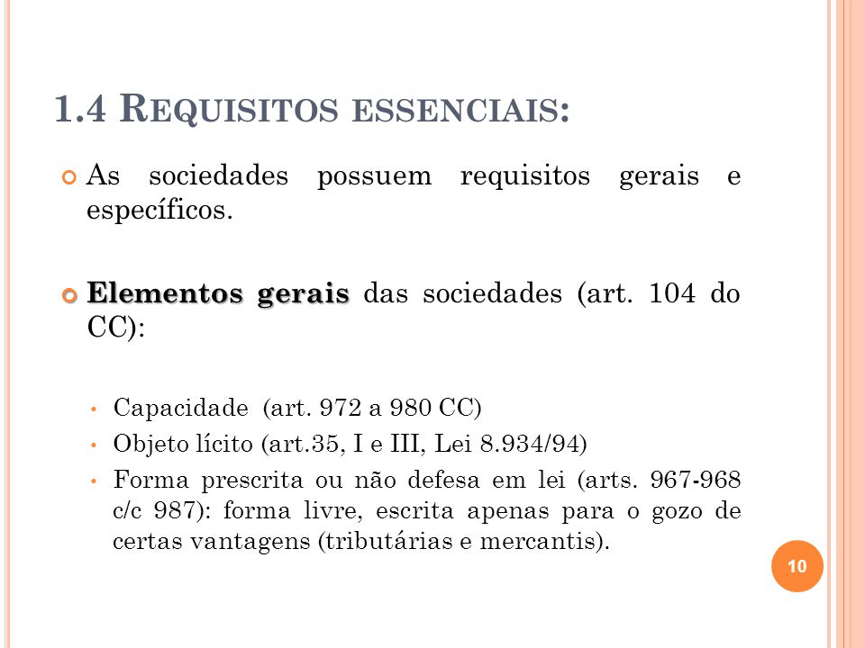 1.4 Requisitos essenciais:
