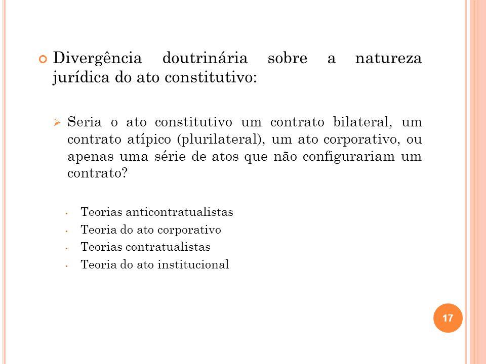 Divergência doutrinária sobre a natureza jurídica do ato constitutivo:
