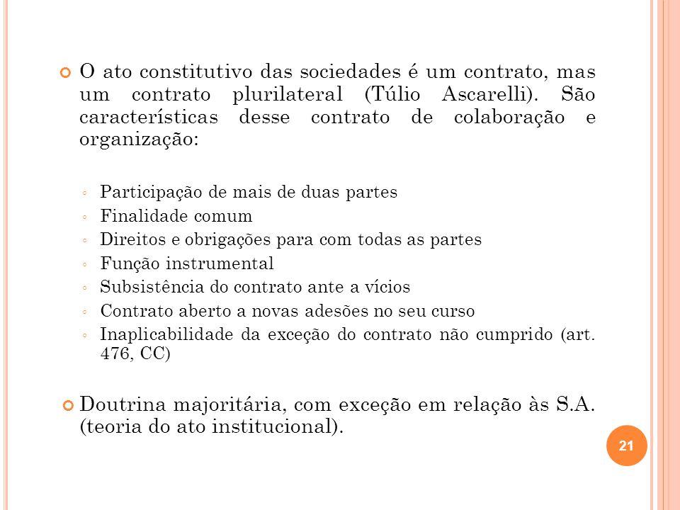 O ato constitutivo das sociedades é um contrato, mas um contrato plurilateral (Túlio Ascarelli). São características desse contrato de colaboração e organização: