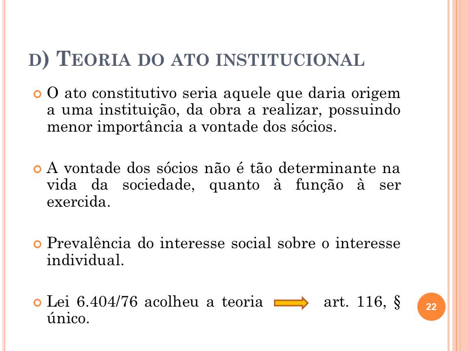 d) Teoria do ato institucional