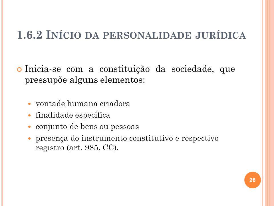 1.6.2 Início da personalidade jurídica