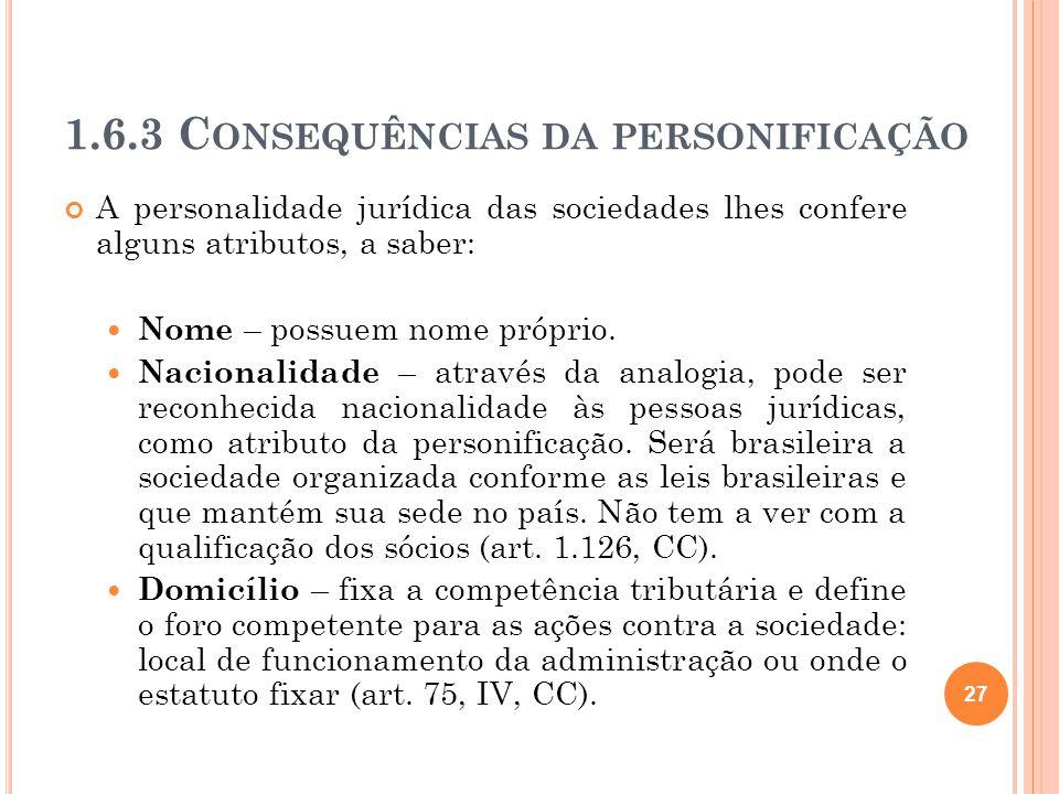 1.6.3 Consequências da personificação