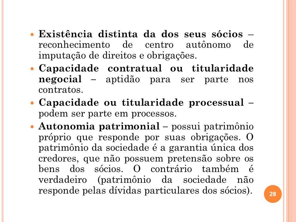 Existência distinta da dos seus sócios – reconhecimento de centro autônomo de imputação de direitos e obrigações.