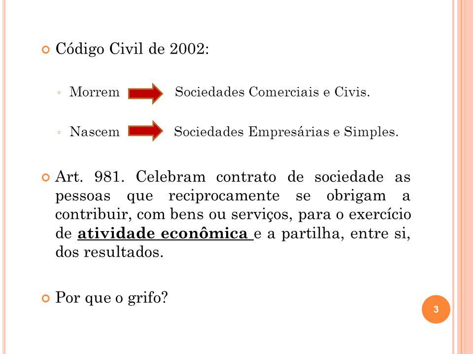 Código Civil de 2002: Morrem Sociedades Comerciais e Civis. Nascem Sociedades Empresárias e Simples.
