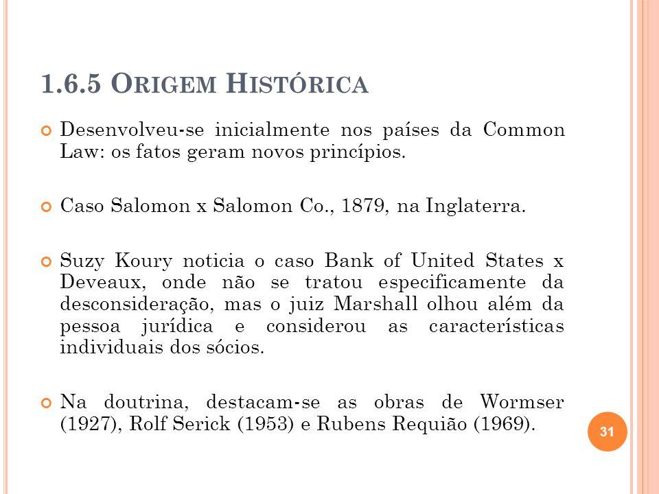 1.6.5 Origem Histórica Desenvolveu-se inicialmente nos países da Common Law: os fatos geram novos princípios.