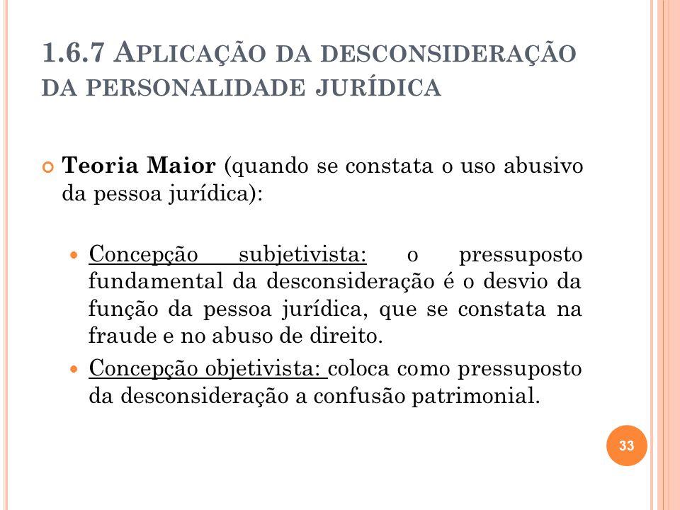 1.6.7 Aplicação da desconsideração da personalidade jurídica