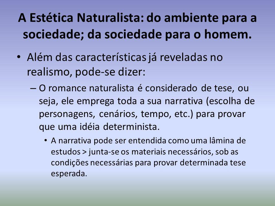 A Estética Naturalista: do ambiente para a sociedade; da sociedade para o homem.