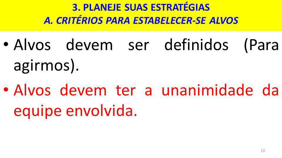 3. PLANEJE SUAS ESTRATÉGIAS A. CRITÉRIOS PARA ESTABELECER-SE ALVOS