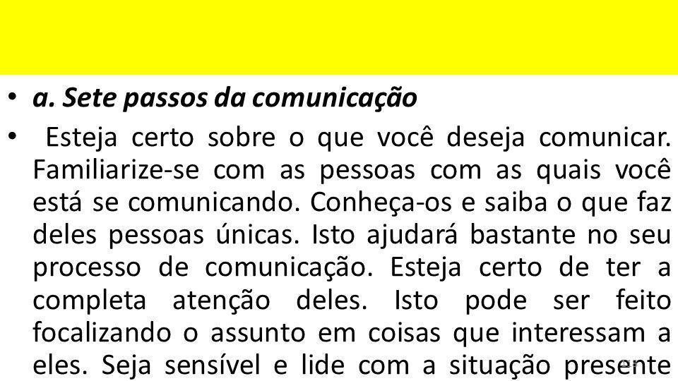 a. Sete passos da comunicação