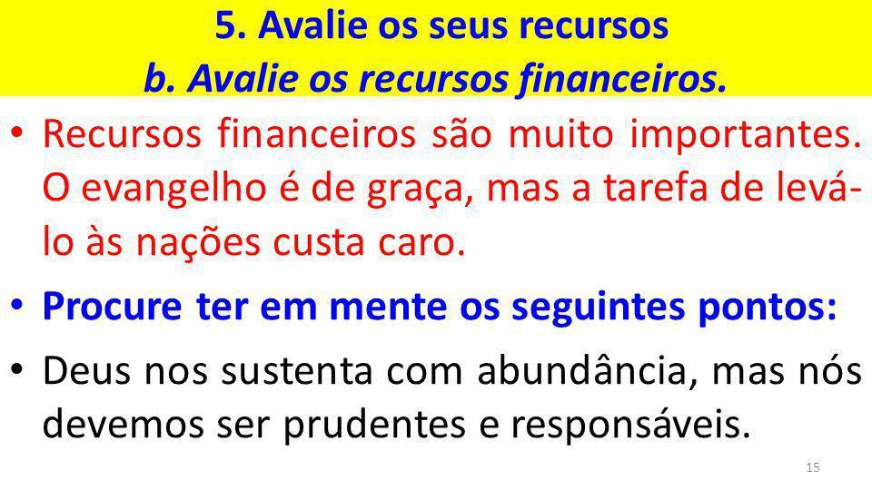 5. Avalie os seus recursos b. Avalie os recursos financeiros.