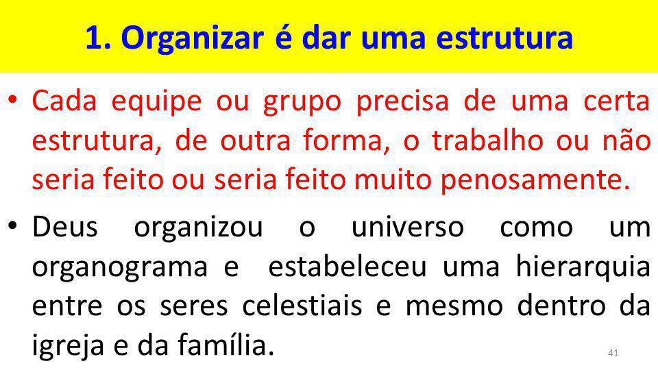 1. Organizar é dar uma estrutura
