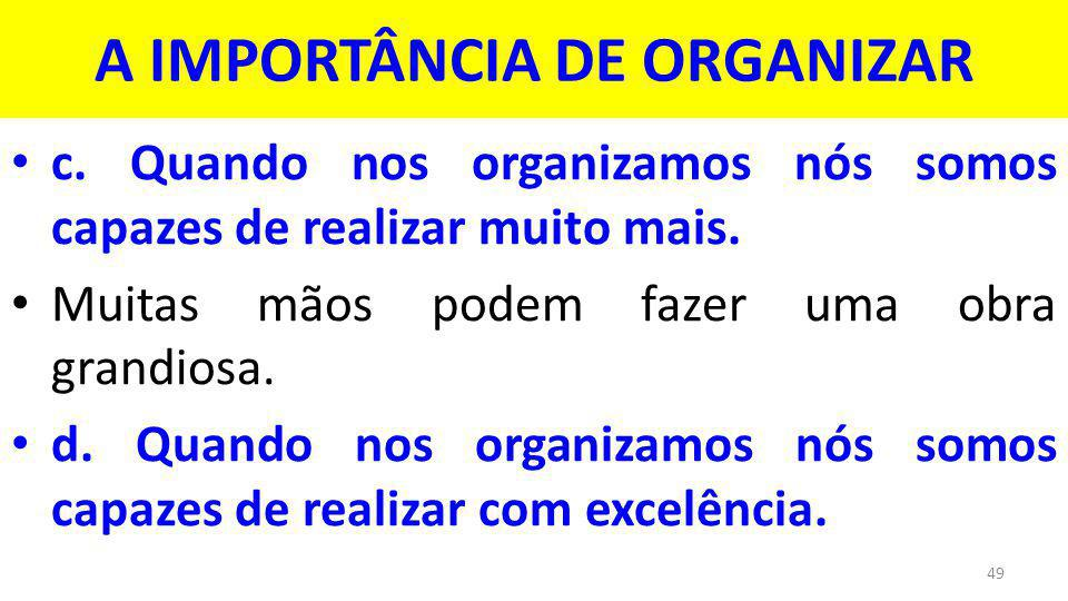 A IMPORTÂNCIA DE ORGANIZAR