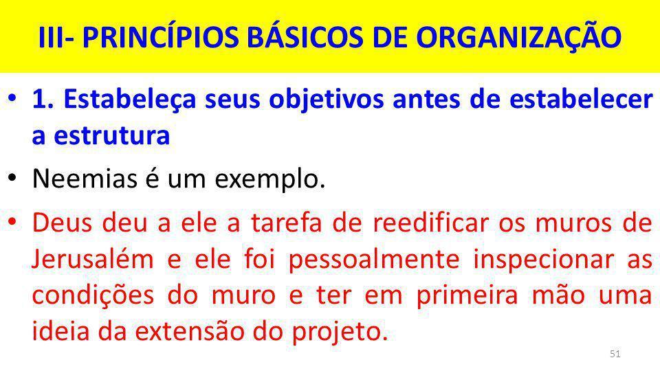 III- PRINCÍPIOS BÁSICOS DE ORGANIZAÇÃO