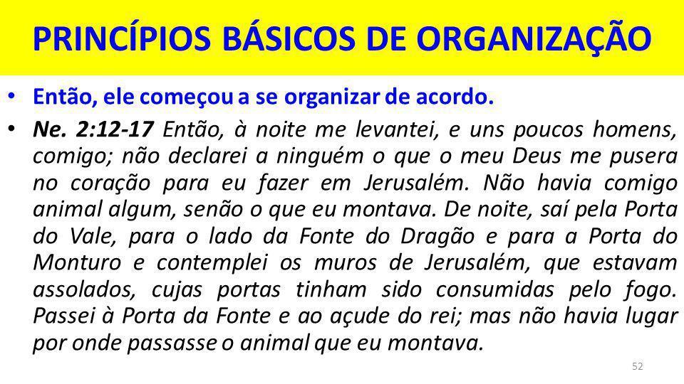 PRINCÍPIOS BÁSICOS DE ORGANIZAÇÃO
