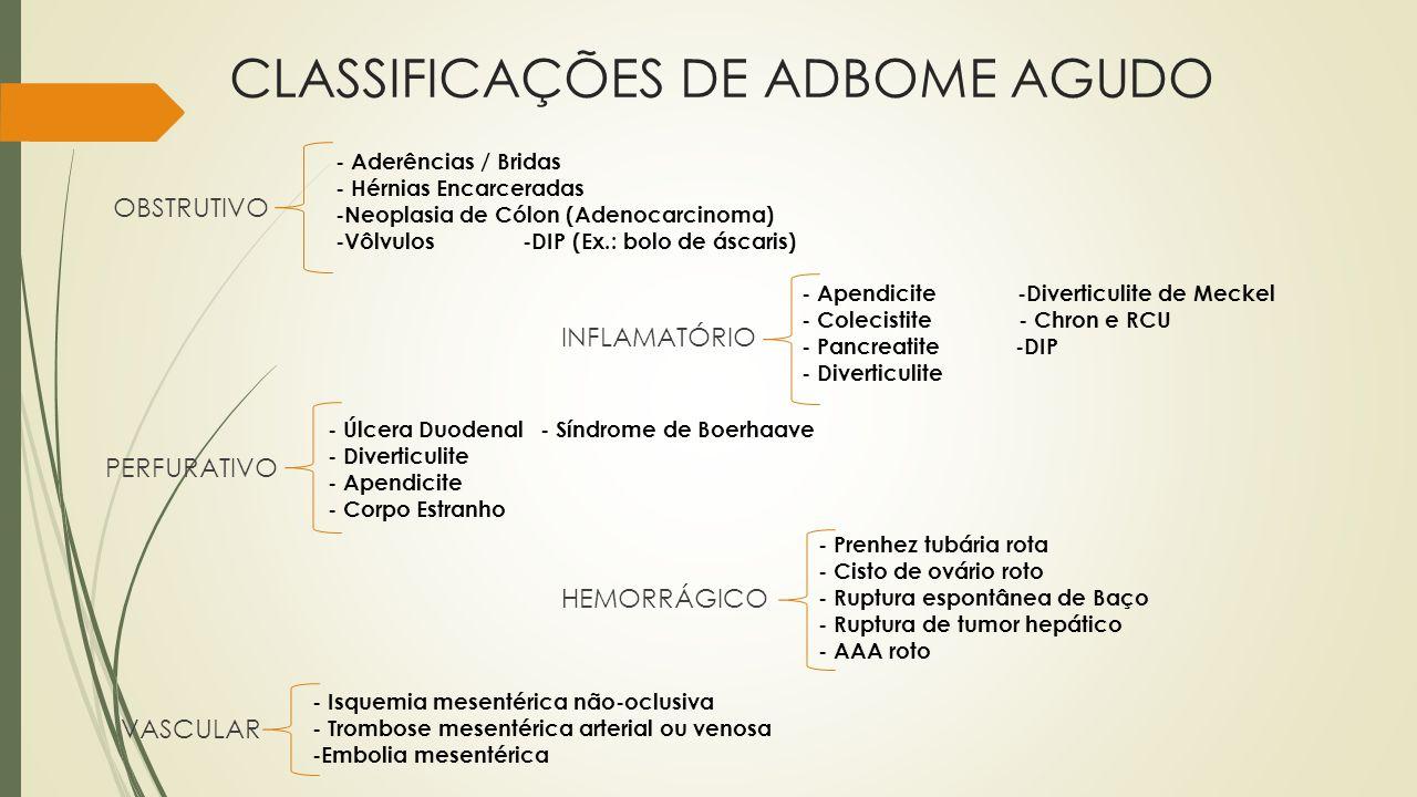 CLASSIFICAÇÕES DE ADBOME AGUDO
