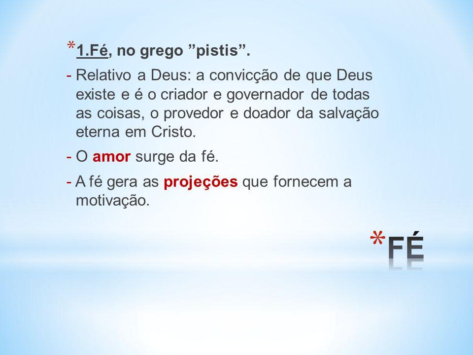 1.Fé, no grego pistis .