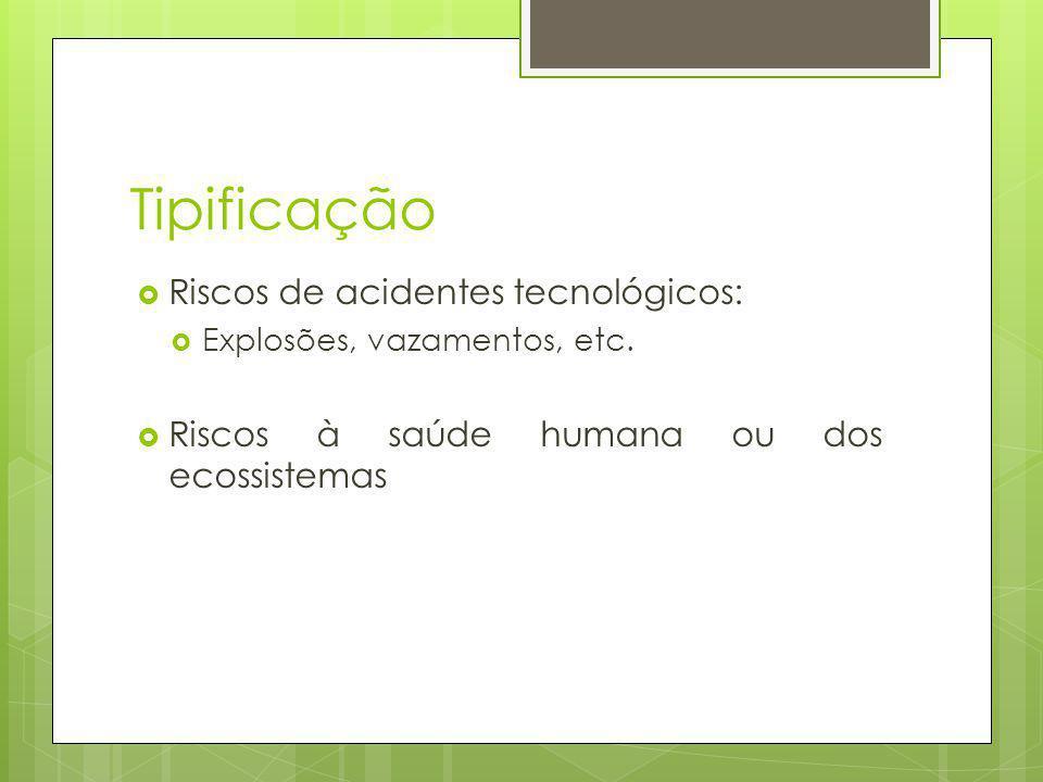 Tipificação Riscos de acidentes tecnológicos: