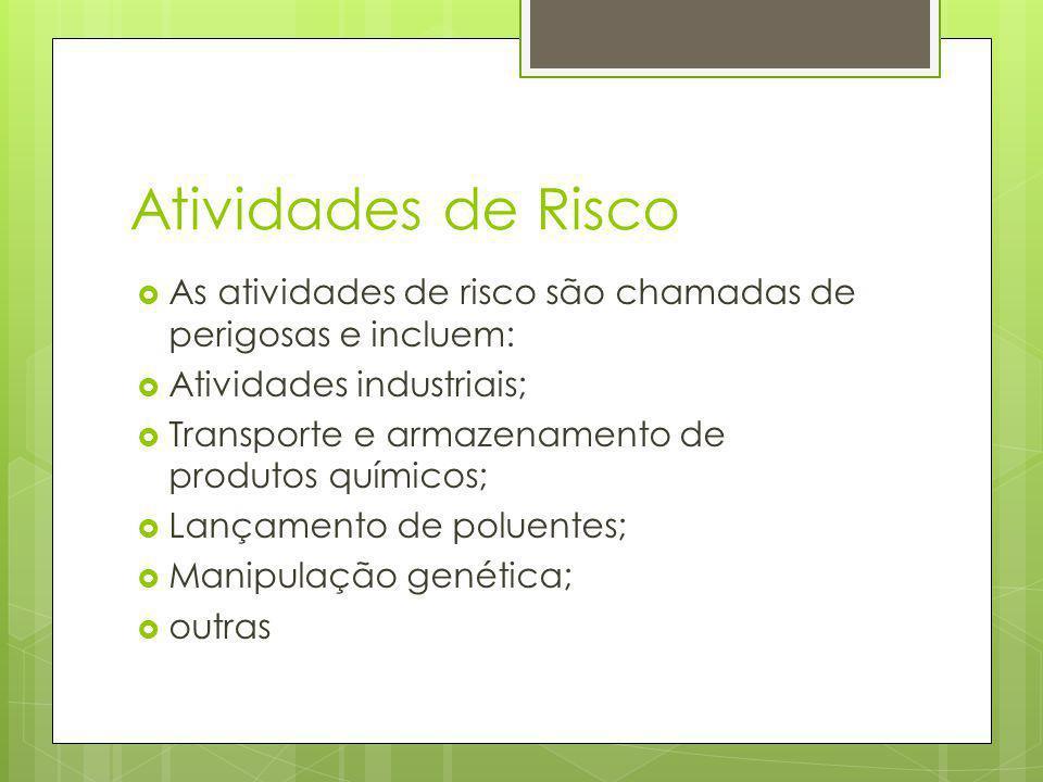 Atividades de Risco As atividades de risco são chamadas de perigosas e incluem: Atividades industriais;
