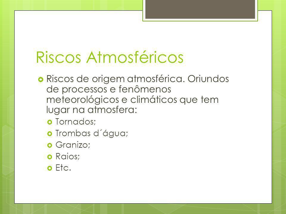 Riscos Atmosféricos Riscos de origem atmosférica. Oriundos de processos e fenômenos meteorológicos e climáticos que tem lugar na atmosfera: