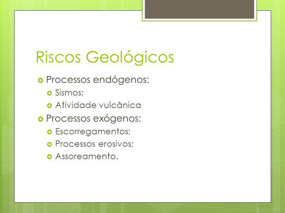 Riscos Geológicos Processos endógenos: Processos exógenos: Sismos;