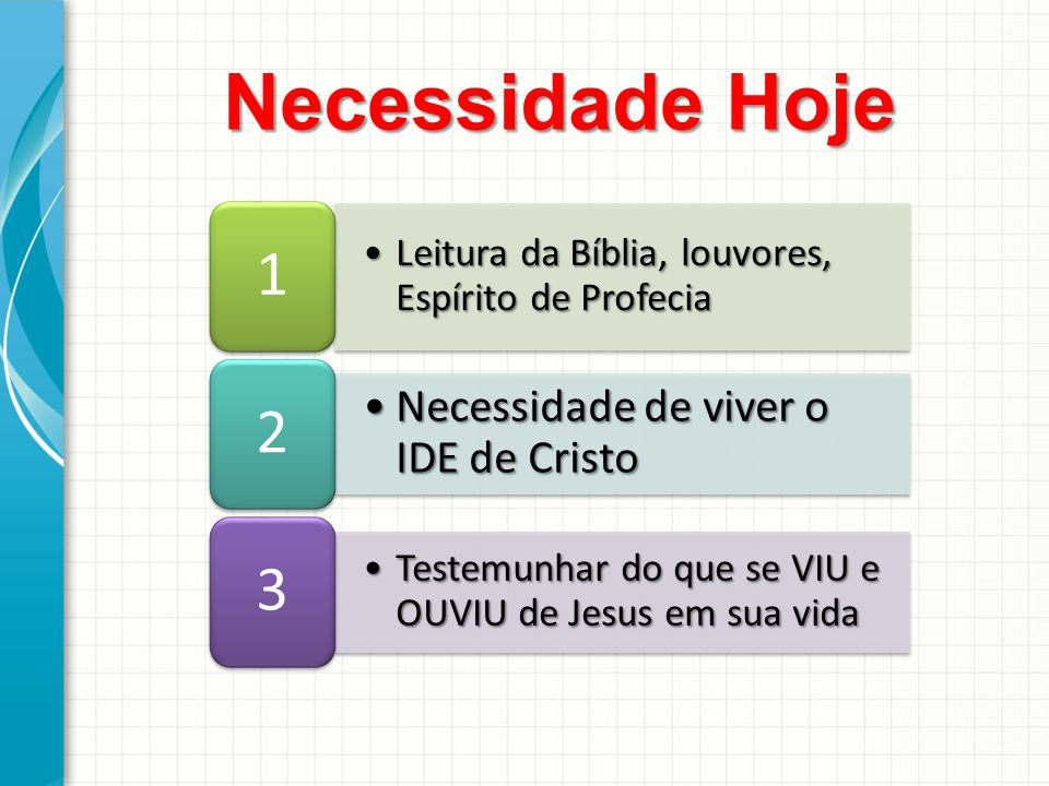 Necessidade Hoje 1 2 3 Necessidade de viver o IDE de Cristo