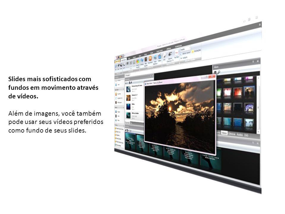 Slides mais sofisticados com fundos em movimento através de vídeos.