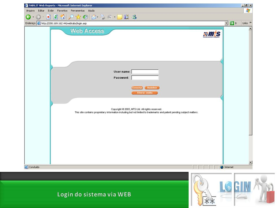 Login do sistema via WEB