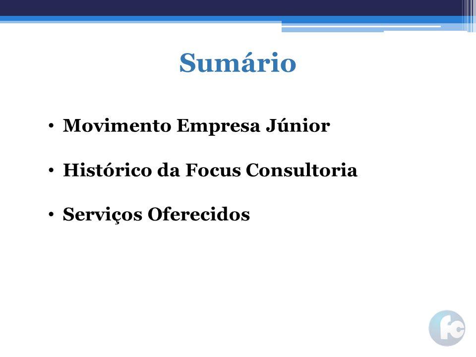 Sumário Movimento Empresa Júnior Histórico da Focus Consultoria
