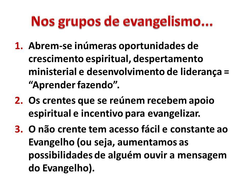 Nos grupos de evangelismo...