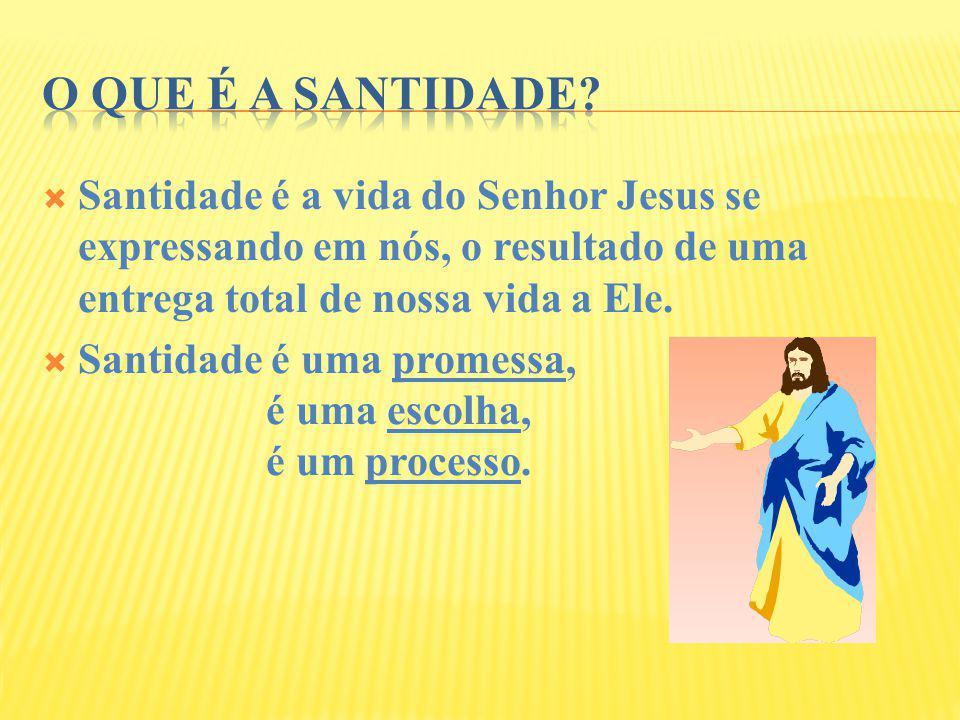 O que é a santidade Santidade é a vida do Senhor Jesus se expressando em nós, o resultado de uma entrega total de nossa vida a Ele.