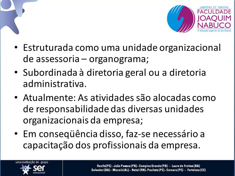 Estruturada como uma unidade organizacional de assessoria – organograma;