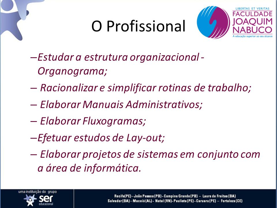O Profissional Estudar a estrutura organizacional - Organograma;