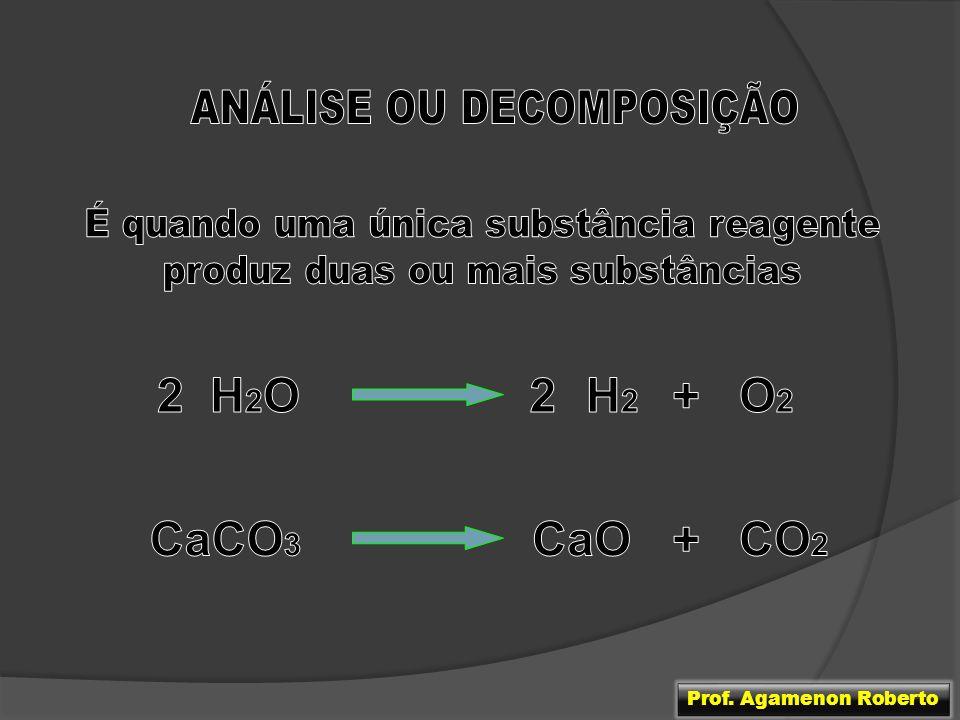 2 H2O 2 H2 + O2 CaCO3 CaO + CO2 ANÁLISE OU DECOMPOSIÇÃO