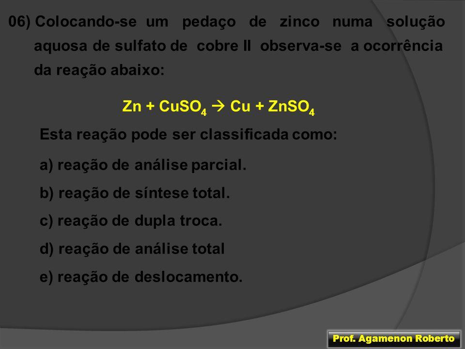 06) Colocando-se um pedaço de zinco numa solução