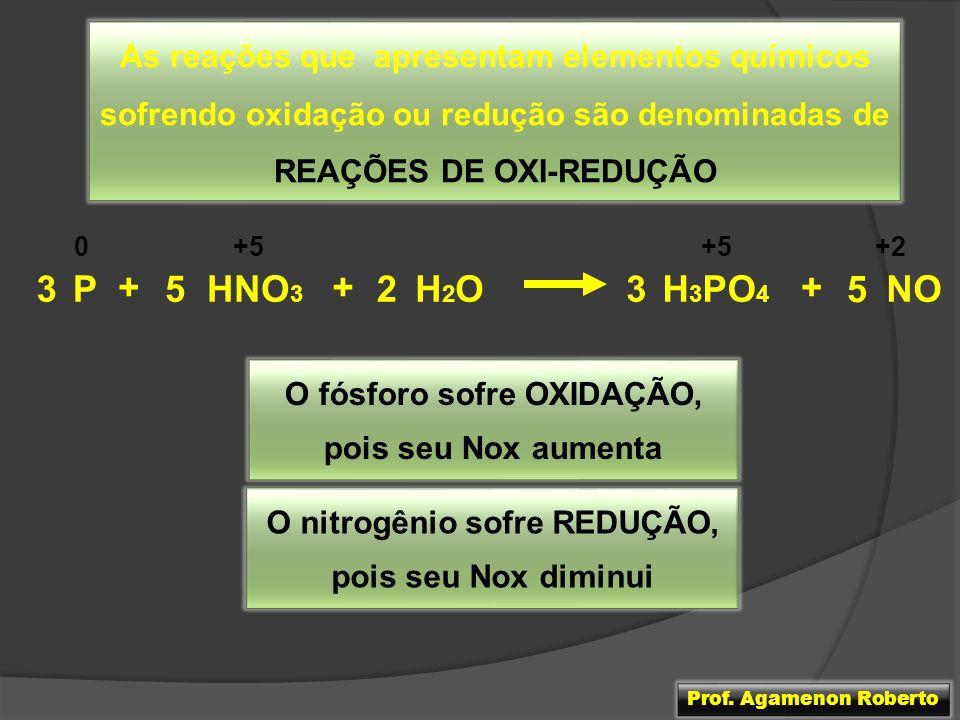 O fósforo sofre OXIDAÇÃO, O nitrogênio sofre REDUÇÃO,
