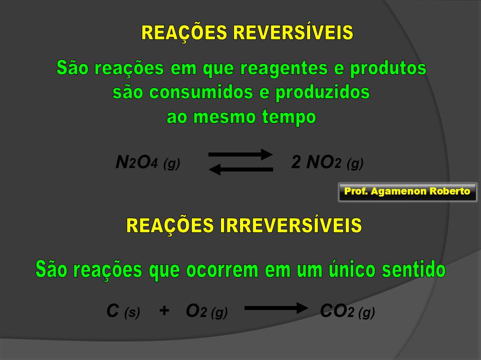N2O4 (g) 2 NO2 (g) C (s) + O2 (g) CO2 (g) REAÇÕES REVERSÍVEIS