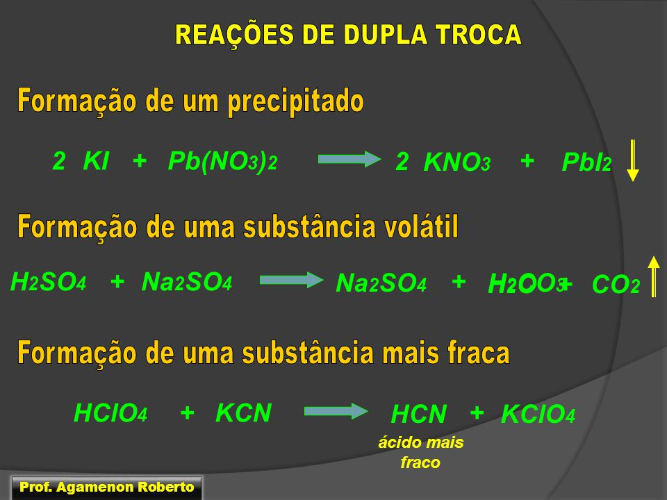 2 KI + Pb(NO3)2 2 KNO3 + PbI2 H2SO4 + Na2SO4 Na2SO4 + H2CO3 H2O + CO2