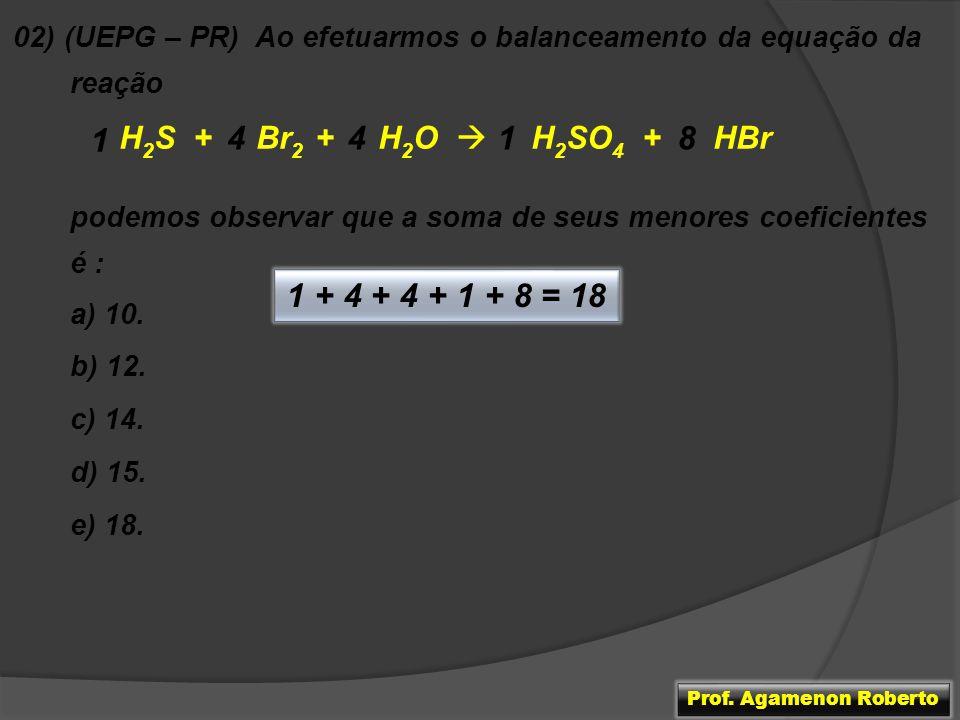 1 4 4 1 8 1 + 4 + 4 + 1 + 8 = 18 H2S + Br2 + H2O  H2SO4 + HBr