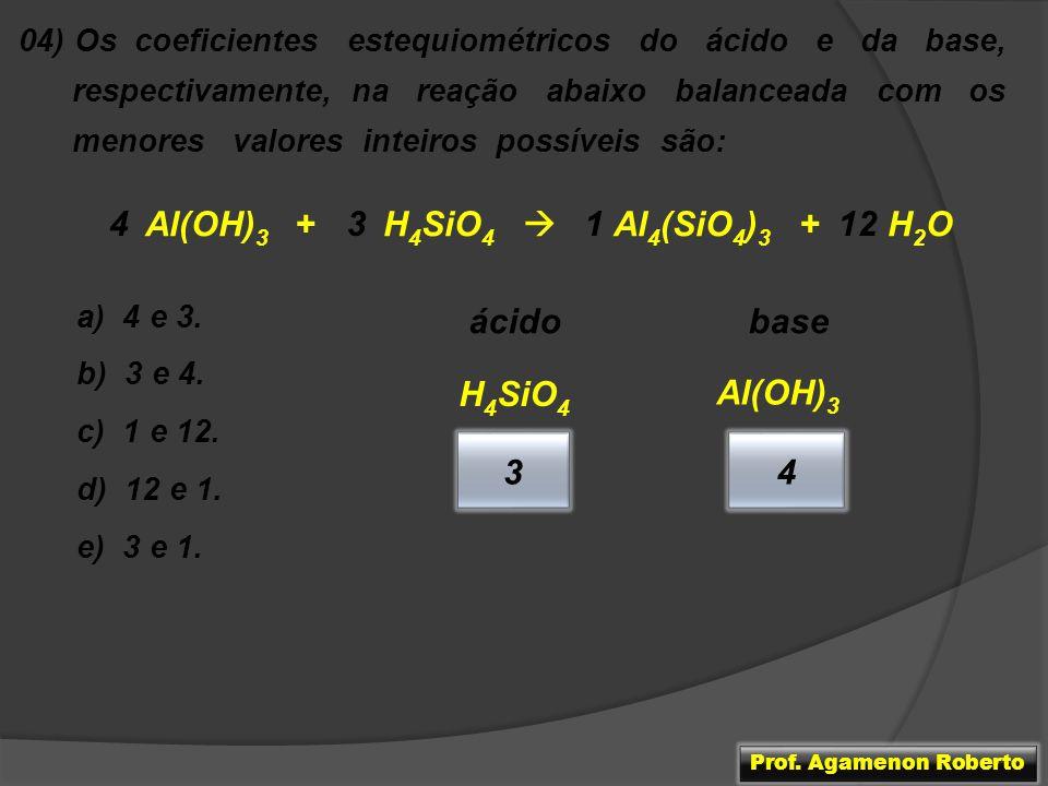 Al(OH)3 + H4SiO4  Al4(SiO4)3 + H2O