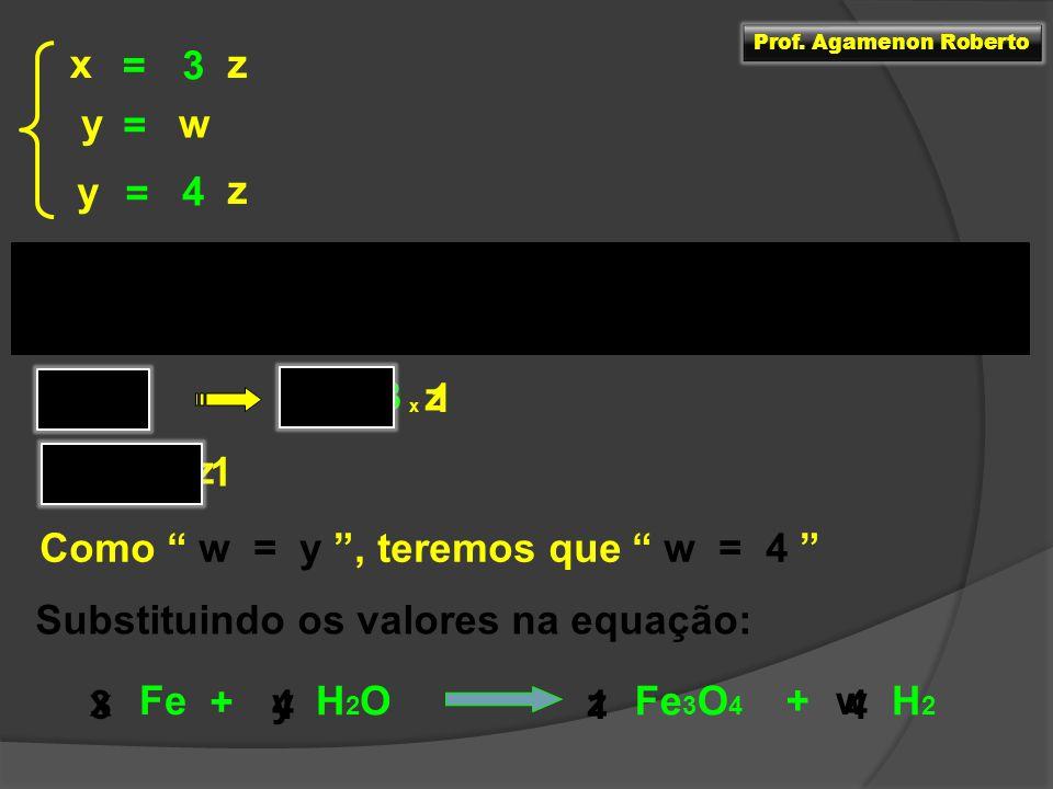 Como w = y , teremos que w = 4