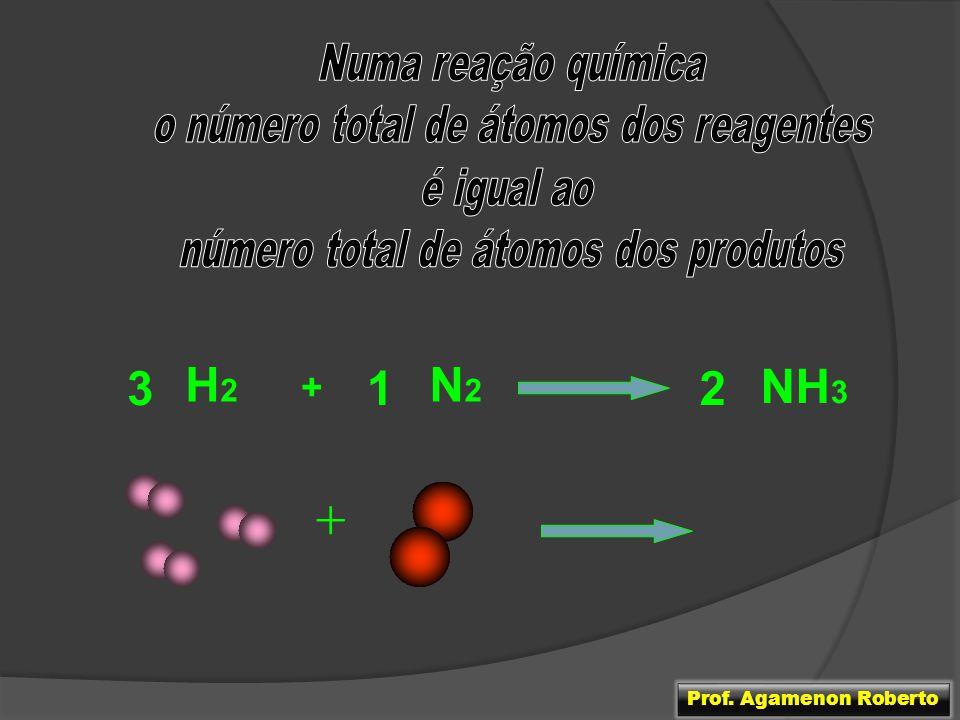 + + 3 H2 N2 1 2 NH3 + Numa reação química