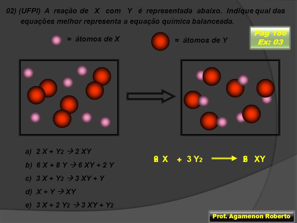 02) (UFPI) A reação de X com Y é representada abaixo. Indique qual das