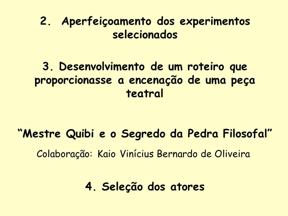 2. Aperfeiçoamento dos experimentos selecionados