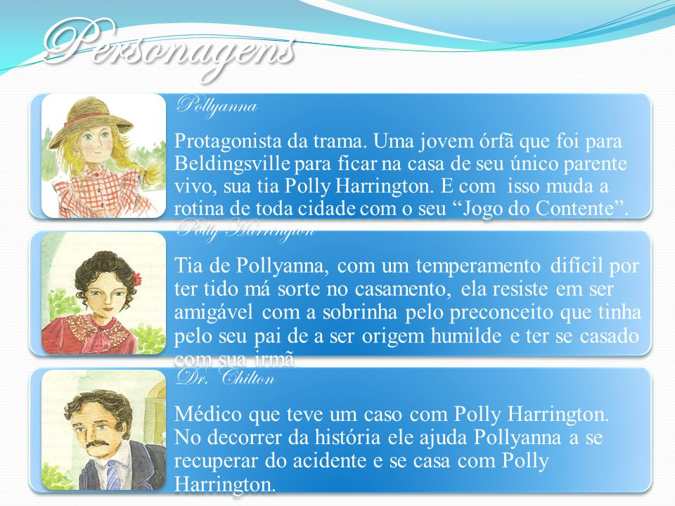 Personagens Pollyanna Polly Harrington Dr. Chilton